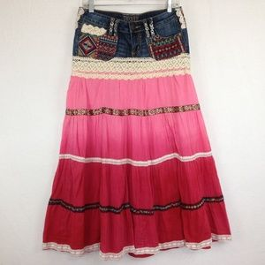 Decree Boho Gypsy Ruffled Stretch Maxi Skirt